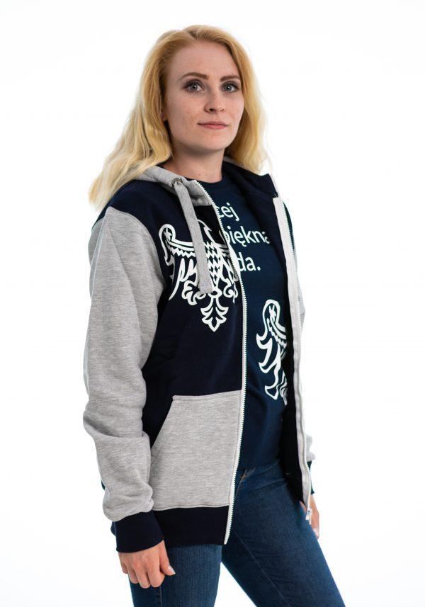 granatowo-szara bluza rozpinana damska z logo UAM