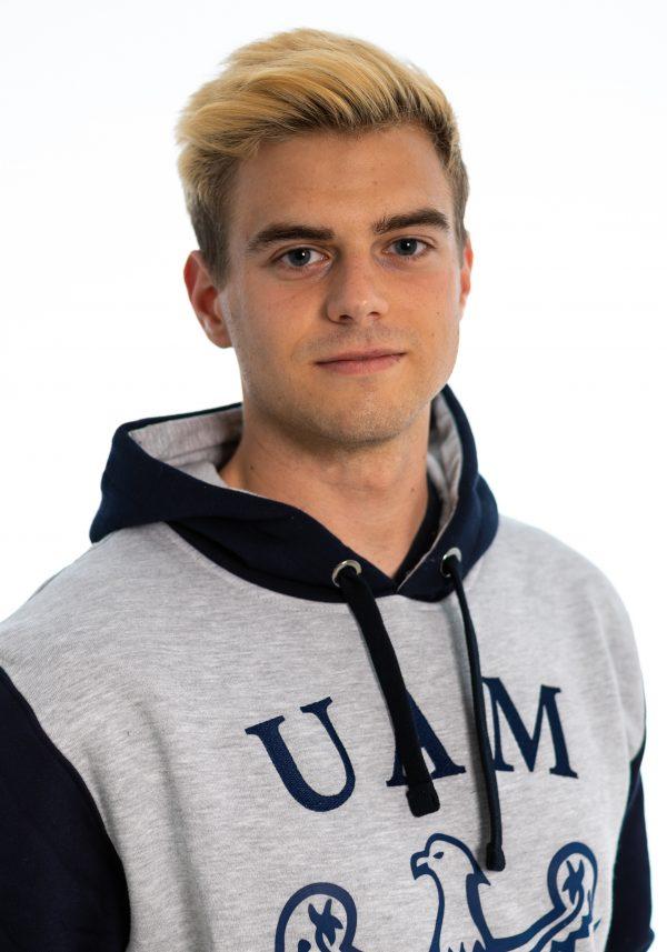 Granatowo-szara bluza nierozpinana (kangurek) męska z logo UAM