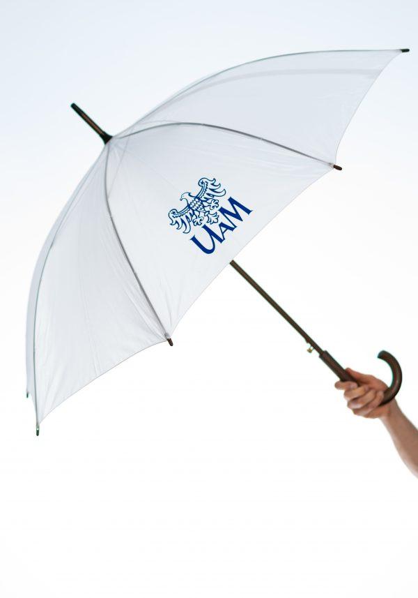 Biały parasol automatyczny z logo UAM