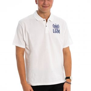 Biała koszulka polo z logo UAM