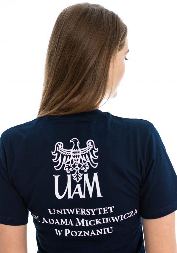 Wyróżniony T-shirt UAM granatowy z polskim hasłem